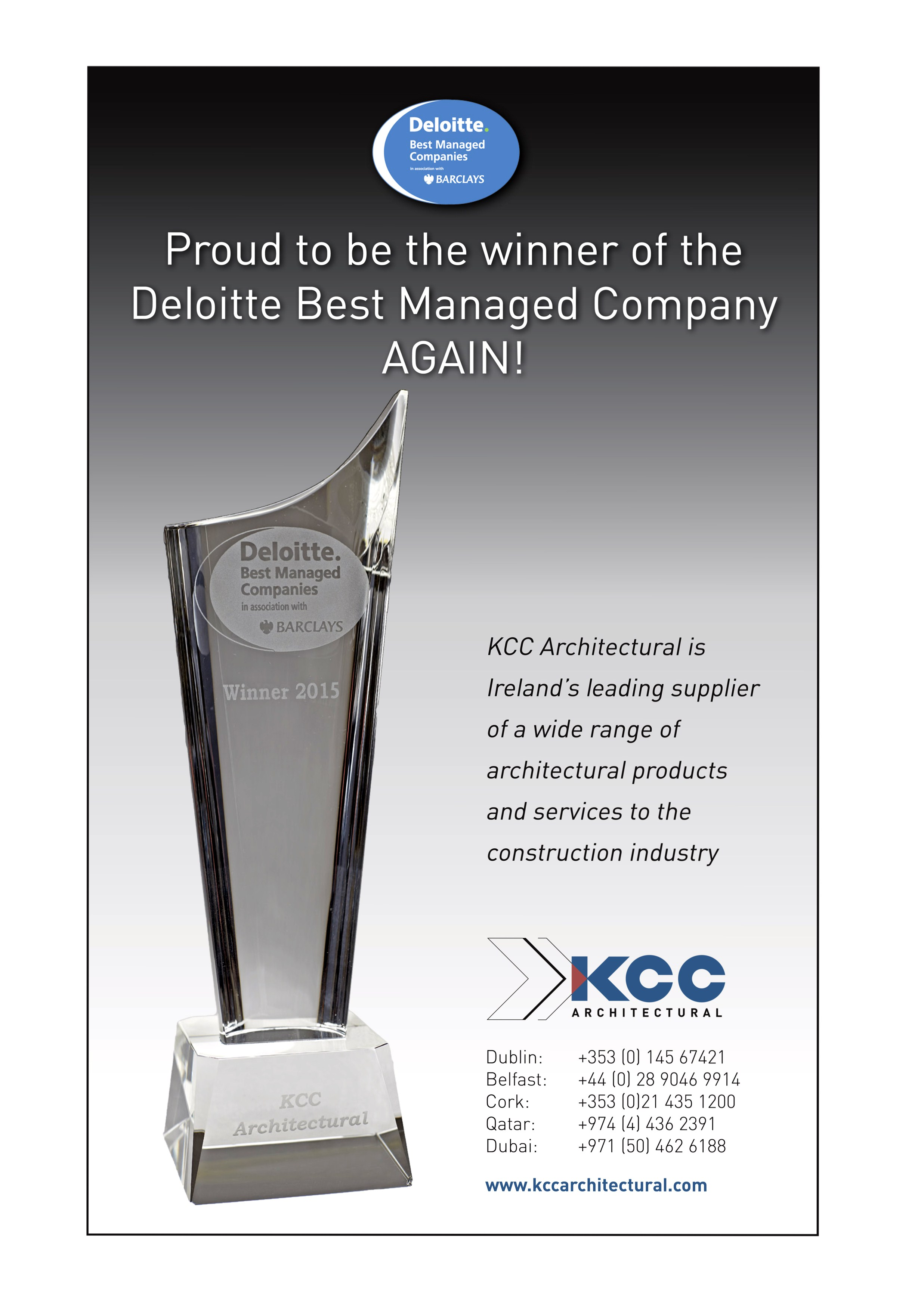 Kcc Architectural Deloitte Best Managed Company 2nd Year