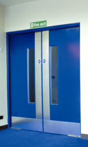 blue fireban door
