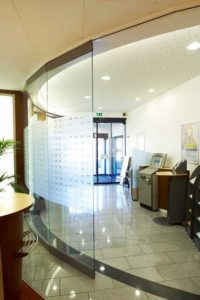 Use of Glazed Movable Walls in Bank